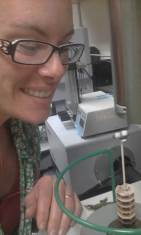 """Me posing with my very last compost sample in the Differential Scanning Calorimeter. *tear*"""