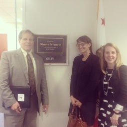 ESA President Dr. Phil Mulder, myself and Blair Ford of Lewis-Burke Associates in front of Senator Feinstein's office.