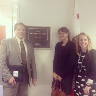 ESA President Dr. Phil Mulder, myself and Blair Ford of Lewis-Burke Associates in front of Senator Feinstein's office.