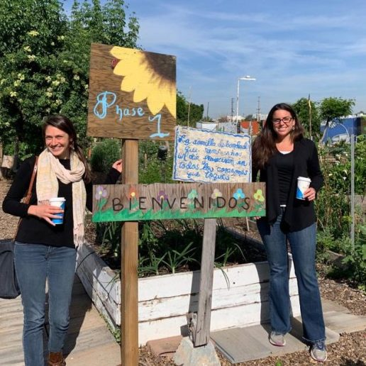 Susie left) and Mandy right) of Inland Empire Resource Conservation District, modeling the beautiful entrance to Huerta del Valle community garden and urban farm.